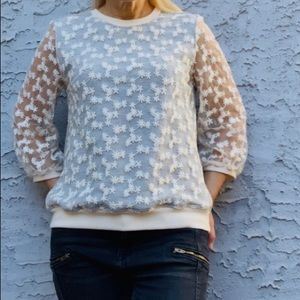Anthropologie Amadi New Daisy Lace Pullover Top M.